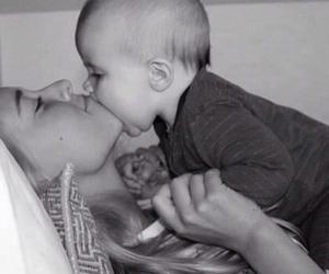 baby, mom, and kiss image