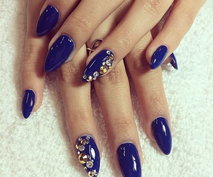 blue, blue nails, and dark blue image