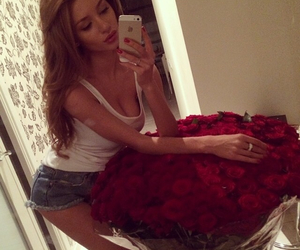 flowers, girl, and Hot image
