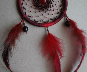 beads, feather, and red image