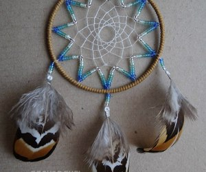 beads, blue, and feather image