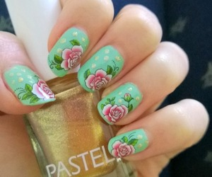 nail art, flowers, and girly image