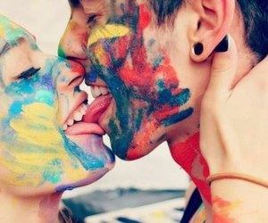 colors, couple, and kiss image