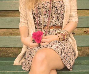 girl, dress, and flowers image