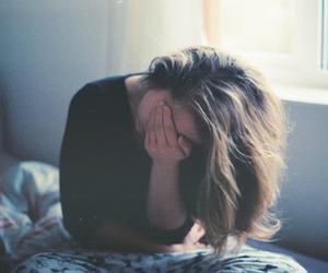 girl, sad, and hair image