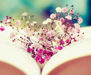 flowers, book, and pink image