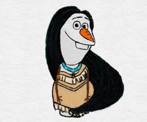 frozen, olaf, and pocahontas image