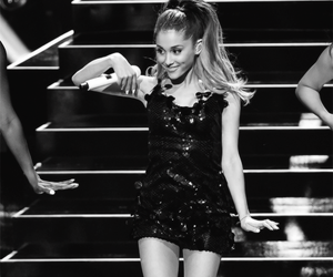 black & white, fashion, and ariana grande image