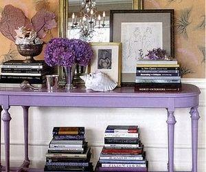 books, cottage, and purple image
