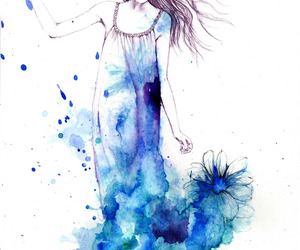blue, girl, and art image