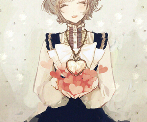 anime, girl, and hearts image