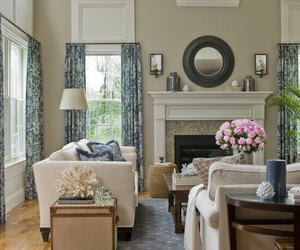 flowers, interior design, and fireplace image