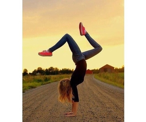 beautiful, girl, and handstand image