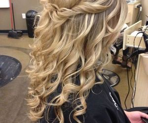 blonde, curls, and long hair image