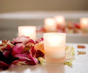 candle, flowers, and light image