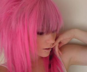 pink hair and pretty girl image