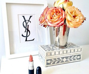 flowers, lipstick, and rose image