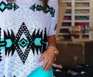 aztec, baby blue, and brunette image