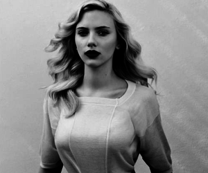 Scarlett Johansson, black and white, and blonde image