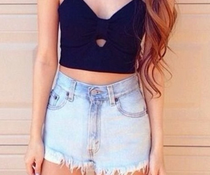 outfit, style, and high wasted shorts image