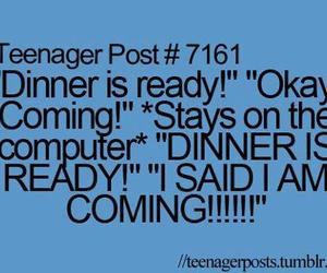 teenager post, dinner, and computer image