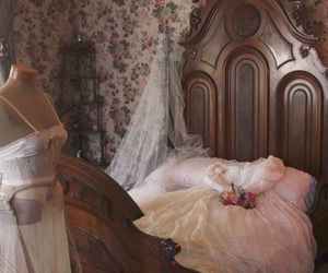 antique, bed, and bedroom image