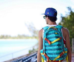 boy, summer, and backpack image