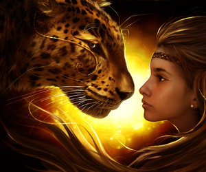 girl and leopard image