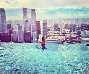 city, summer, and pool image