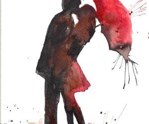 red, umbrella, and art image