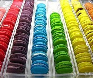food, macaroons, and rainbow image