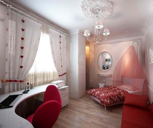 bedroom, design, and red image