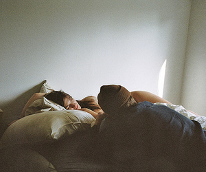 couple, bed, and boy image