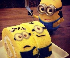 minions, cake, and yellow image