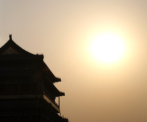 beijing, silhouette, and sun image