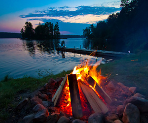 fire, photography, and lake image