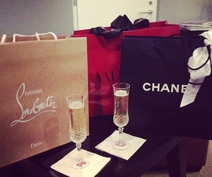 chanel, shopping, and champagne image