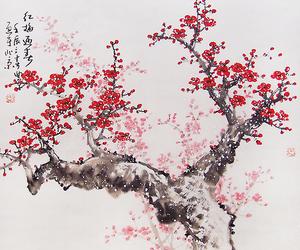 art, flowers, and tree image