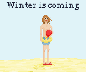 funny, pixelart, and winter is coming image