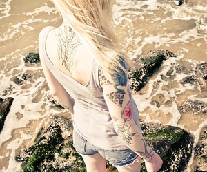 tattoo, girl, and water image