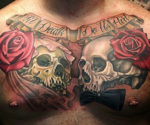 skull, tattoo, and love image