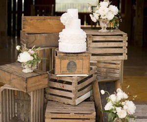 cake, crates, and rustic image