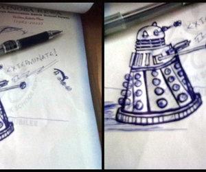 Dalek, pen, and sketch image