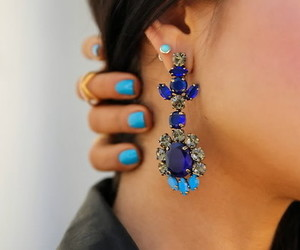 blue, girl, and earring image