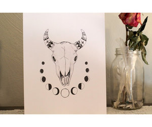 art, etsy, and buffalo skull image