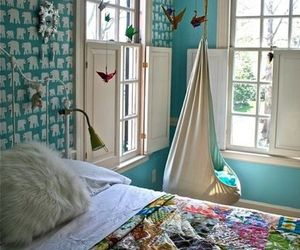 bedroom, room, and blue image