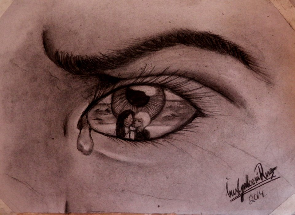 Sad Eye Looking At Her Boyfriend With Another Girl Maked By