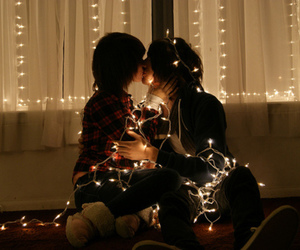 couple, kissing, and light image