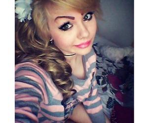 blonde hair, flower, and kawaii image