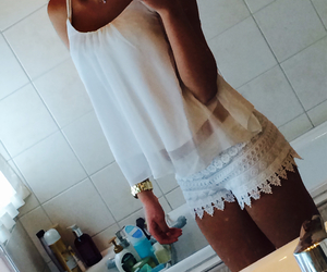 outfit, tan, and white image